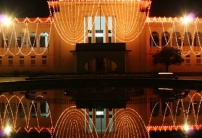 The Bangladesh high court building is decorated with light in the evening of the eid day. Photo: Abir Abdullah